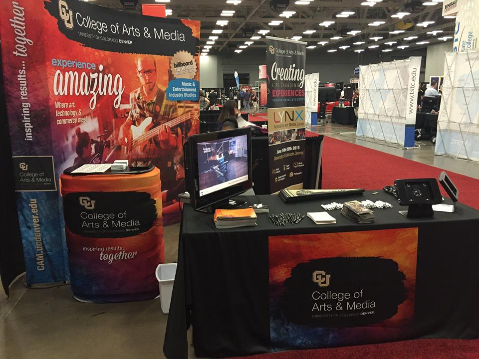 College of Arts & Media trade show display at South by Southwest (SXSW), March 2015.