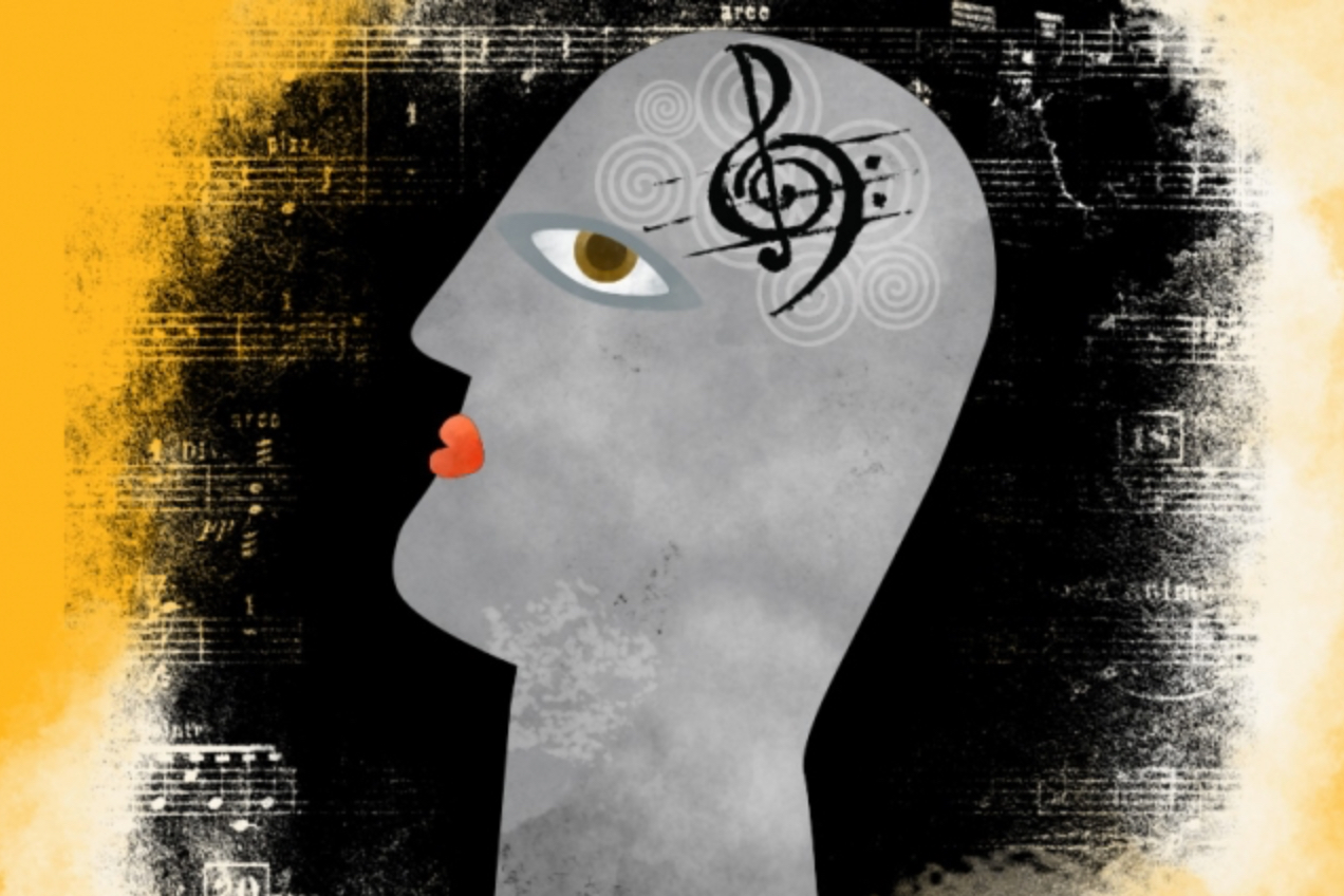"Illustration: Christine Daniloff/MIT ""One of the core debates surrounding music is to what extent it has dedicated mechanisms in the brain and to what extent it piggybacks off of mechanisms that primarily serve other functions,"" Josh McDermott says."