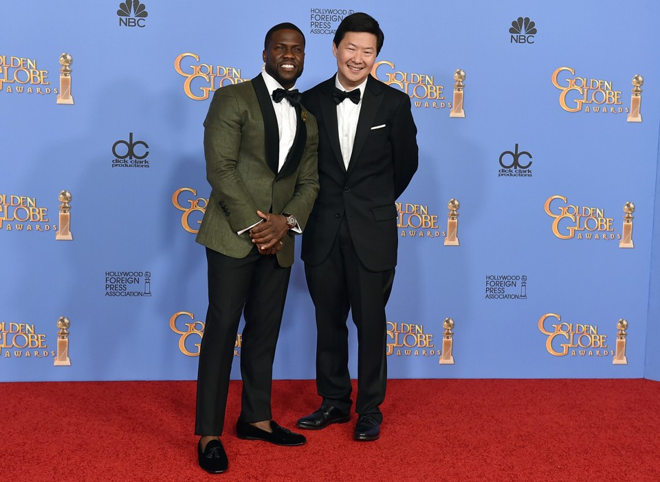 Kevin Hart, left, and Ken Jeong pose in the press room at the 73rd annual Golden Globe Awards on Sunday, Jan. 10, 2016, at the Beverly Hilton Hotel in Beverly Hills, Calif.  (Photo by Jordan Strauss/Invision/AP)