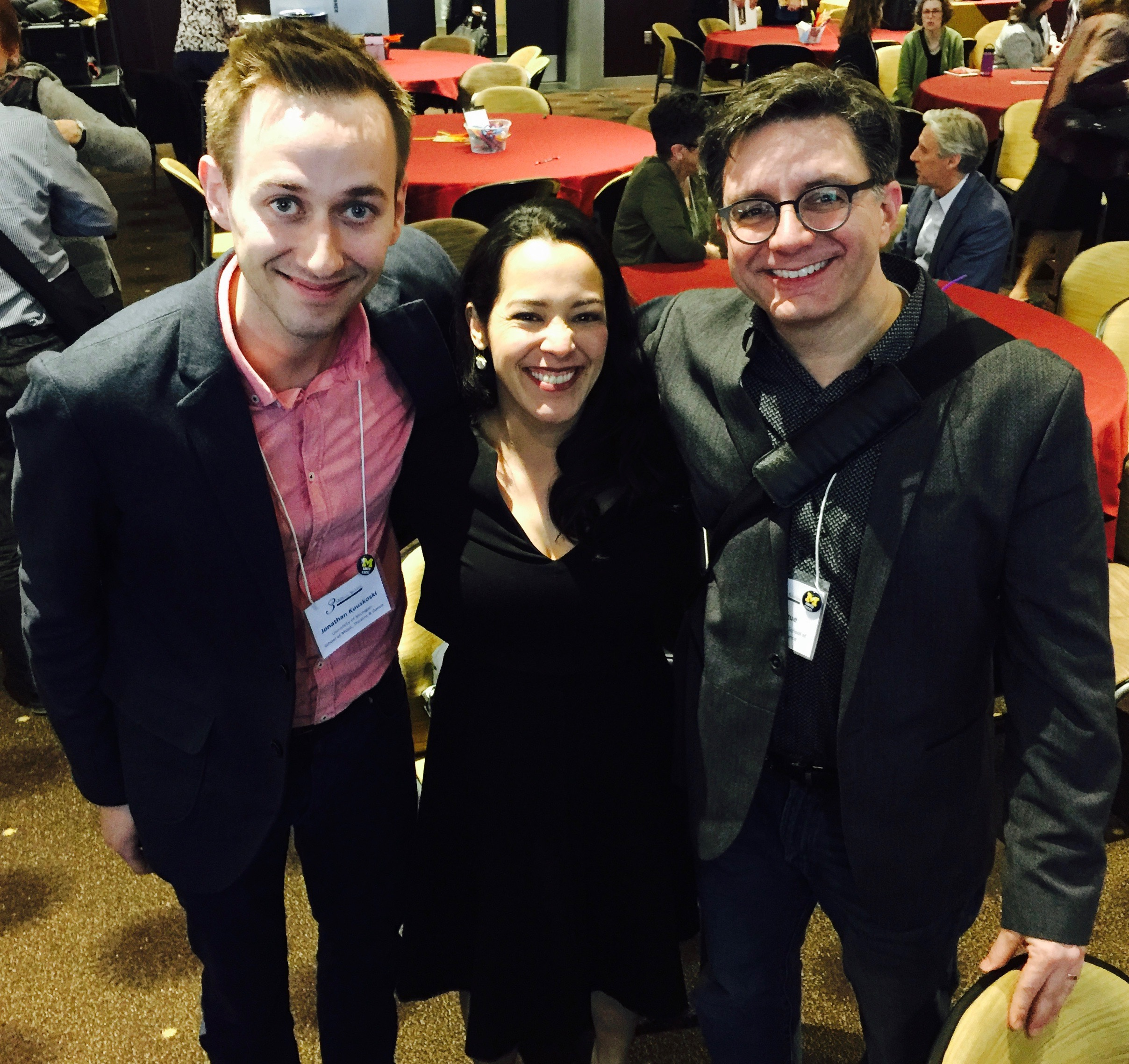 University of Michigan SMTD's EXCEL leadership team Jonathan Kuuskoski and mark Clague, bookend CAM's Angie Buckley at the 3 Million Stories Conference at ASU. March 4, 2015.