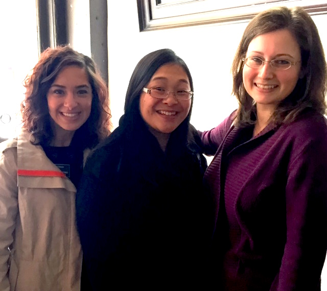 CAM staffers Marianna DiVietro and Tanida Ruampant (left to right) with Elena Reznikova ('10)