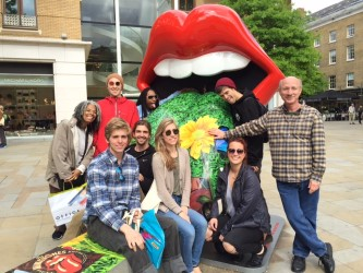 """Prof. Stan Soocher forwarded this photo from London at the new """"Rolling Stones Exhibitionism"""" gallery show, the first the Stones themselves have curated. He says it is very comprehensive, very interactive. Prof.  Leslie Gaston will have this and other trip photos on her blog. These students are studying recording arts and the music industry in London."""