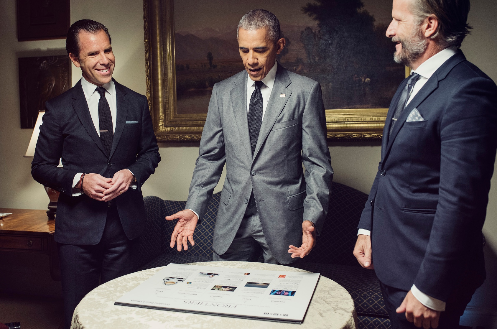 In the Roosevelt Room of the White House, President Barack Obama discusses plans for the issue he is guest editing with WIRED's Editor-in-Chief Scott Dadich and Editorial Director Robert Capps.CHRISTOPHER ANDERSON/MAGNUM PHOTOS