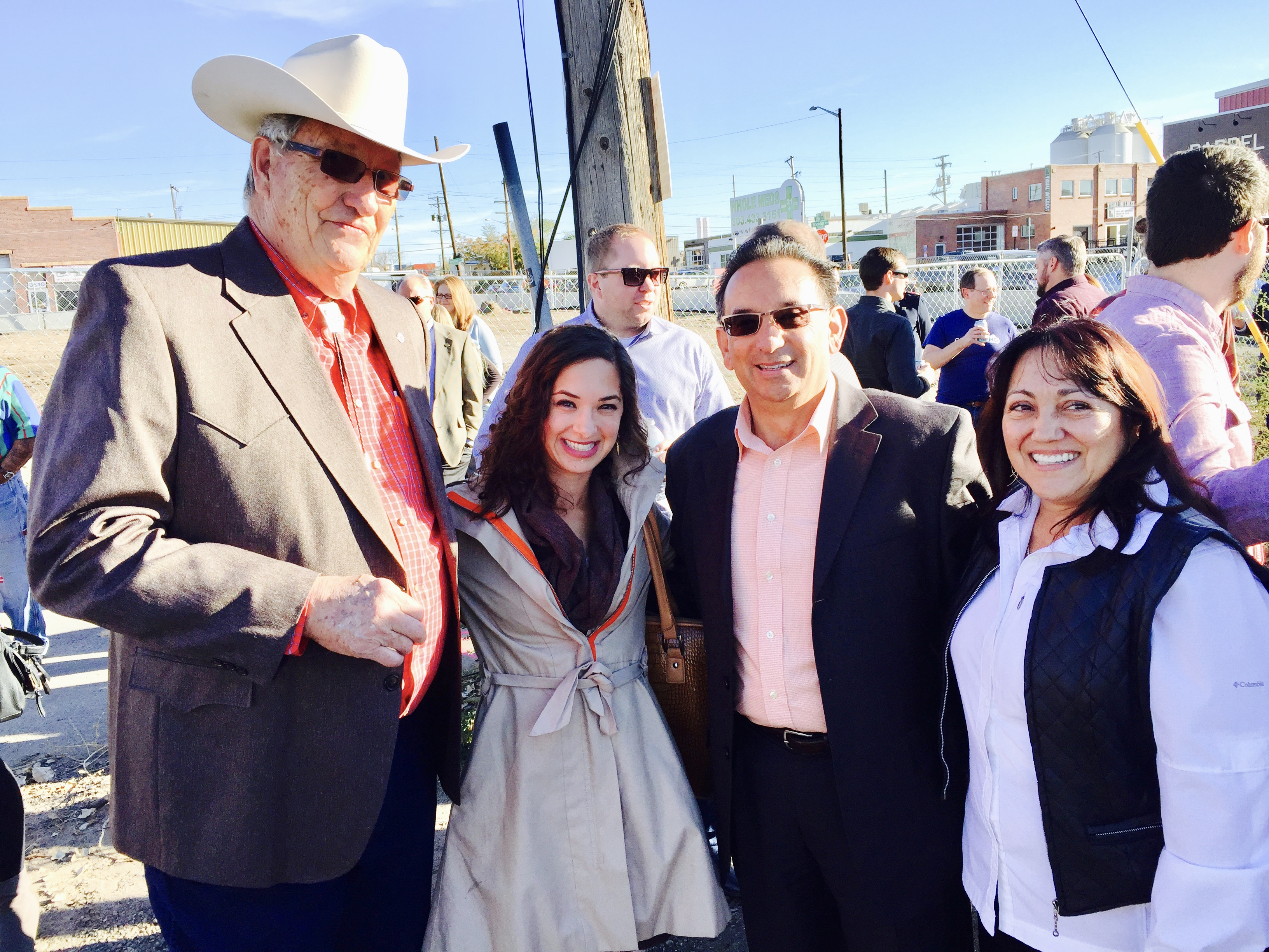 "Larry Burgess (land owner), Marianna DiVietro (CAM Development Officer), Chris Martinez (City of Denver--Senior Advisor), and Deborah ""Debbie"" Ortega, Denver City Council member"