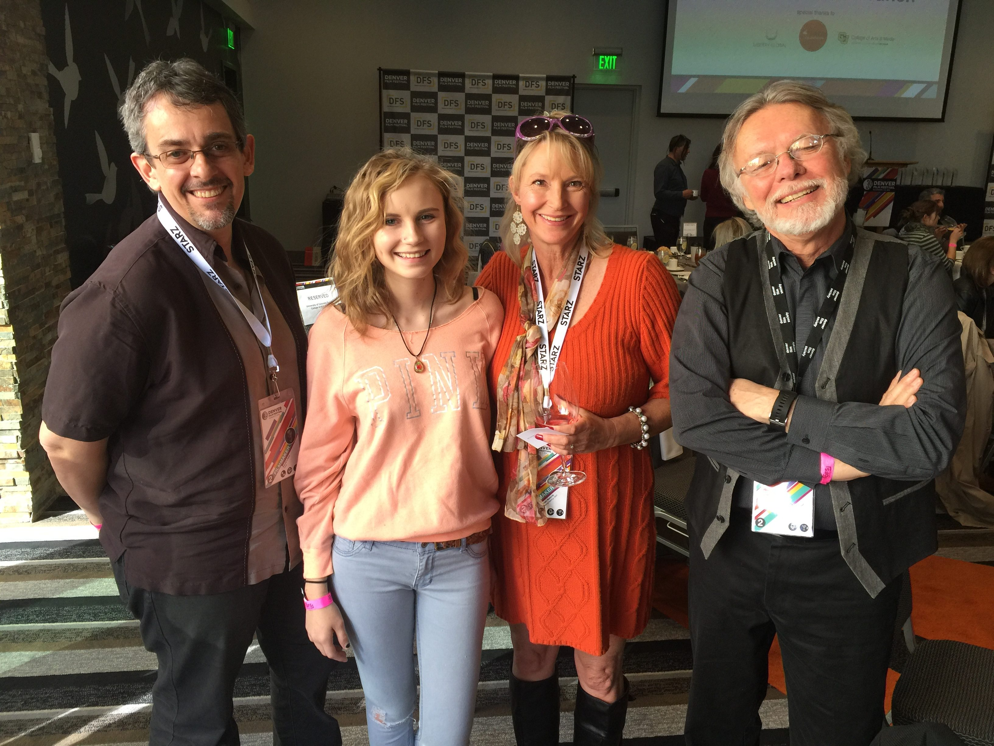We didn't know it at the time, but Cindi Malone (2nd from right) as a Producer was there to accept an award from the Denver Film Fesitval on behalf of her husband Brian Malone for Reengineering SAM (2016). We were glad to meet Caitlin Malone too (second from left).