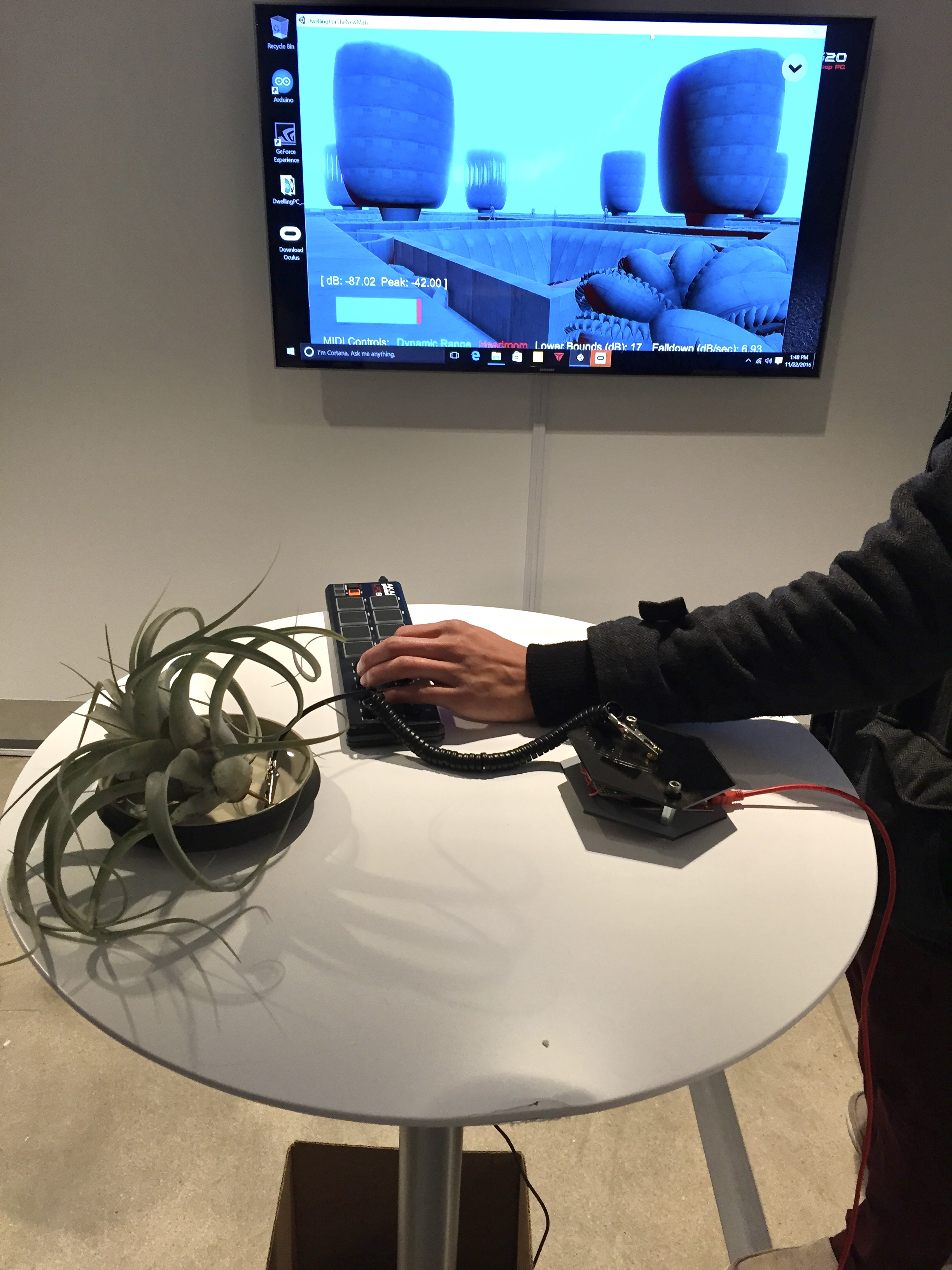 "Prof. Bryan Leister's ""Interactive (and activated) plant."" Touch it and magic happens."