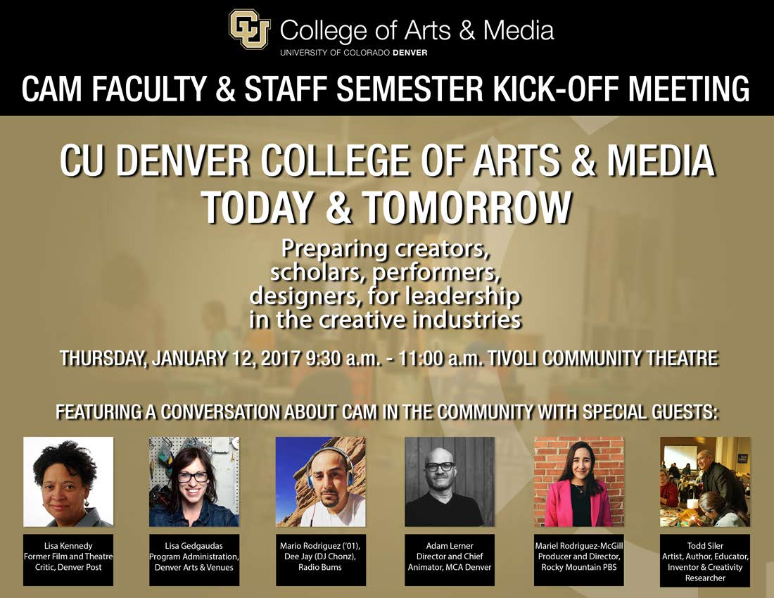 CU Denver College of Arts & Media Faculty & Staff Kick-Off Meeting on Thursday, January 12, 2017